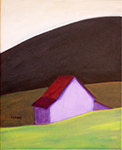 barn on mountain painting