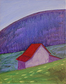 barn mountain painting