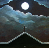 spiritual painting church at night
