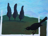 Crow in Yard Painting