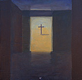 spiritual painting cross through door